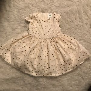 Carters White Gold Heart Dress Size 6 Months